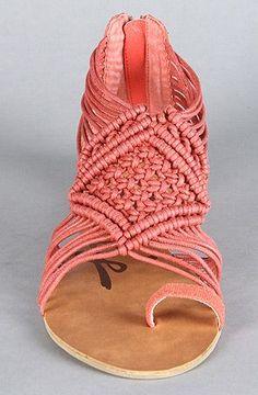 Coral woven sandal