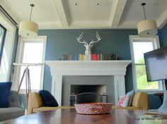 I kinda like this for an accent color with gray and white.  fireplace mantle - color coded books!