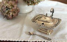 Vintage Sterling Silver Salt Cellar w/ Spoon