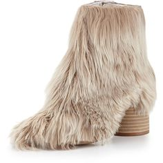 Maison Margiela Alpaca Wood-Heel 80mm Bootie (€660) ❤ liked on Polyvore featuring shoes, boots, ankle booties, natural, high heel bootie, ankle bootie boots, high heel booties, metallic boots and side zipper boots