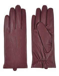 Leather Stitch Detail Gloves   M&S
