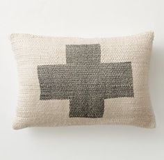 RH TEEN's Plus Sign Bouclé Pillow Cover & Insert:On the plus side. With its iconic graphic, spare colors and soft bouclé weave, our cotton pillow is a study in positive reinforcement.