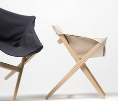attracted to the language of camping furniture, the british designer has developed a simple wooden X-frame chair with a canvas sling to form the seat