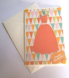 happy Birthday for Girl  Orange dress by StardustPaper on Etsy