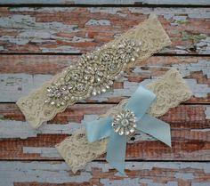 Rhinestone Wedding Garter Set, Something Blue Wedding Garter Set, Bridal Garter Belt, Blue Ribbon Rhinestone & Pearl Bow Toss Garter, B33 by SpecialTouchBridal on Etsy