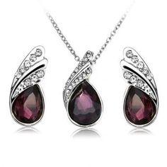 Pendientes Collar de cristal de gota del agua joyería de plata plateado sistema de la joyería