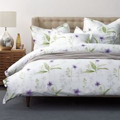 Simply Violet 400-Thread Count Sateen Duvet Cover - This elegant floral duvet cover is sprigged with delicate violets, creating a restful theme for the bedroom.