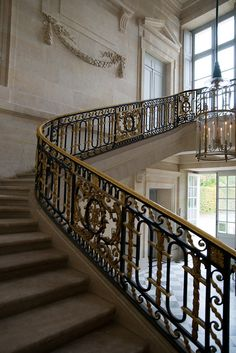 The staircase inside of the Petit Trianon.