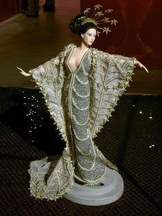 This was the Barbie on display, front and center, at the start of the exhibit. Barbie's white dress decorated with diamonds was designed by Lee Kwang-hee.  She costs up to 200 million won. (about $200,000)