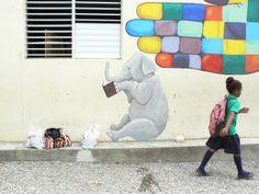 progress on the school mural in Cangrejo, Dominican Republic.