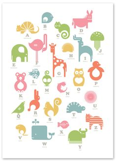 alphabet poster + simplified animal illustrations + awesome