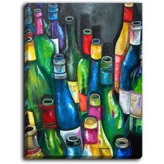 DiaNocheDesigns 'Wine Collection' by Patti Schermerhorn Painting Print on Wrapped Canvas Size: