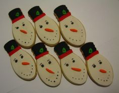 Snowmen bulbs, Sugar cookie, cut out with christmas light bulb cutter, decorated like a smowman