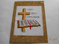cross stitch first holy communion card available etsy shop DebbyWebbysCards