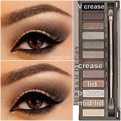 Steps for Smokey Brown using the Urban Decay Naked Palette 2 1.) prime eye w/ urban decay primer potion; & pat CHOPPER on lid 2.) blend out SNAKEBITE in crease & BOOTYCALL to brow bone 3.) w/ an angled shading brush; apply BLACKOUT TO V crease & blend over SNAKEBITE to darken; blend well 4.) then apply HALF BAKED (gold) to middle of lid and slightly blend outward over CHOPPER to make lid pop