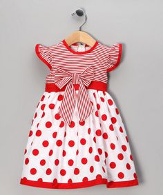 Take a look at this Red Polka Dot Stripe Dress - Toddler & Girls by Maggie Peggy on #zulily today!