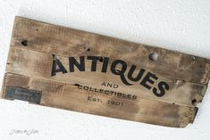 Antiques reproduction sign using Funky Junk's Old Sign Stencils / funkyjunkinteriors.net