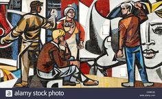 """Berlin, Allemagne. À partir de détails 'Unsere Leben' ('Notre vie') mosaïque (1962-1963) par Walter Womacka sur la """"Haus des Lehrers"""" Banque D'Images Photo Images, Illustrations, Berlin, Stock Photos, Painting, Germany, Life, Photography, House"""