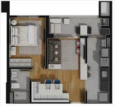 apartamento planta tipo 1 quarto 46,51m2
