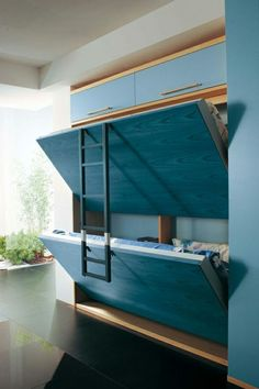 Oh I bet Ken could make this!!   The hideaway bed. This is such a great solution for a shared room with limited play space. The Murphy-bed concept would work so well and the hinged ladder lays flat against the bed making it even more compact.