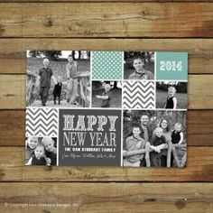 modern happy new year photo collage card custom 2014 happy new year photo