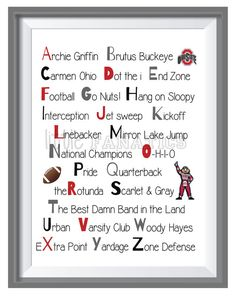Buckeye fans will love this Ohio State University alphabet art print. Perfect for decorating a baby's nursery, child's bedroom or playroom. It