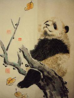panda Panda Kawaii, Panda Panda, Japanese Art Prints, Panda's Dream, Chinese Drawings, Panda Love, Wild Creatures, China Art, Bear Art