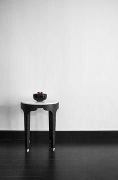 Akar de Nissim's bedside table GUIMAR with Obsidian candle holder ARAGAT