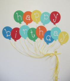 Balloon Happy Birthday Banner READY TO SHIP by IECREATIONS