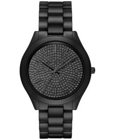 Michael Kors Women's Slim Runway Black Ceramic Bracelet Watch 42mm MK3449 whoever loves me enough to get me this! Do it. Bc I want it and love it!!