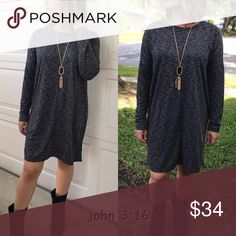 Chic tunic dresses Marbled fabric tunic dresses looks amazing with booties or tall boots and on trend for the season....comfortable and chic  90% polyester 10% rayon - price is firm✔️ Dresses Long Sleeve