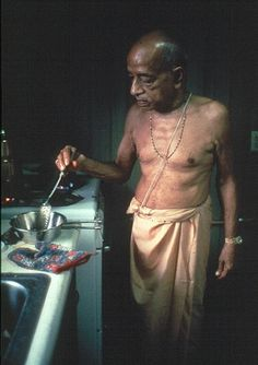 """Srila Prabhupada: """"Whatever you have on your plate when you start, you have to finish that prasadam."""" Daivishakti: In 1974, maybe in August, after Janmastami, Prabhupada was again recov…"""