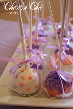 Purple and Pink Cake Pops for baby shower