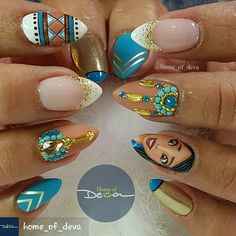 Love the color combination.  Not a fan of how busy the nails looks but wanted to save because I love 2 of the designs.