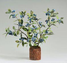 "Blueberries - Porcelain, underglaze paints, glazes, painted copper, terracotta, 14"" - Vladimir Kanevsky, Fine Porcelain"