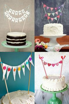23 Clever DIY Christmas Decoration Ideas By Crafty Panda Cake Bunting, Cake Banner, Diy Birthday Decorations, Birthday Cake Decorating, Happy Birthday Cakes, Birthday Cake Toppers, Birthday Card Drawing, Diy Cake Topper, Cake Decorating Techniques