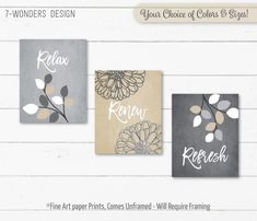 Beige Grey Tan BATHROOM Wall Art Prints, Relax Renew Refresh, Flowers Leaves, Neutral Bathroom Decor, Set of (3) Prints, UNFRAMED