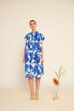 CORA dress in white/blue girls & fish print