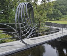 Bespoke sculptural footbridge, Staveley, Lake District