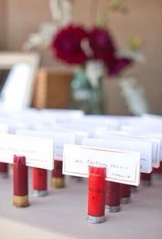 Shotgun shell card holders (for assigned seating)