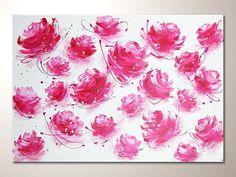 Abstract canvas art- abstraktes Wandbild mit Rosen von Henriette Küentzle