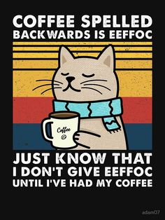 Coffee Quotes, Coffee Humor, Coffee Puns, Funny Signs, Funny Memes, Cat Memes, Funny Cute, Hilarious, Cat Drinking