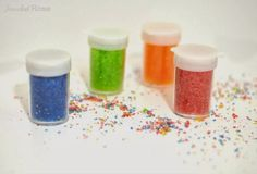 """Make Homemade Glitter with salt & food colouring/liquid watercolours - from Growing a Jeweled Rose ("""",)"""