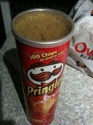 Reuse Pringles Cans To Store Uncooked Pasta. Cover With Scrapbook Paper Or Paint To Make It Prettier