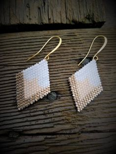 Items similar to Gold Toe Fluffies Woven Earrings on Etsy Seed Bead Jewelry, Bead Jewellery, Seed Bead Earrings, Beaded Jewelry, Handmade Jewelry, Beaded Flowers Patterns, Beaded Earrings Patterns, Jewelry Patterns, Brick Stitch Earrings