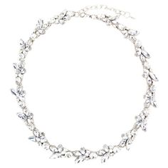 Add a pop of style to evening ensembles and work outfits alike with this stunning silver-plated necklace, showcasing an eye-catching choker design and rhines...
