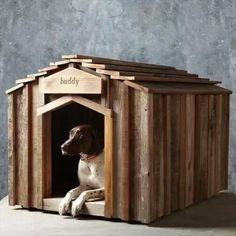 Rustic Upcycled Dog Houses - The 'Reclaimed Wood Dog House' Keeps Your Dog Eco-Friendly (Niche Pour) Wood Dog House, Pallet Dog House, Pitbull Blue, Canis, Positive Dog Training, Best Dog Training, Animal Projects, Diy Projects, Diy Stuffed Animals