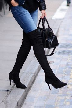 EJSTYLE - Balenciaga Motorcycle le dix bag black leather, Dorothy Perkins Indigo Bailey jeans, Next thigh high OTK microsuede boots, London street style