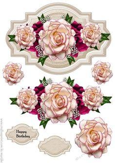 Decoupage Vintage, Decoupage Paper, Flower Cards, Paper Flowers, Decoupage Printables, Image 3d, Beautiful Rose Flowers, 3d Paper Crafts, 3d Cards