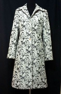 Classiques Entier Coat in White Gray Brocade, Knee Length on eBay.